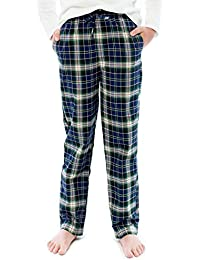 6-12 Years Big Boys 100% Cotton Plaid Check Soft Lightweight Lounge Pants With Pocket