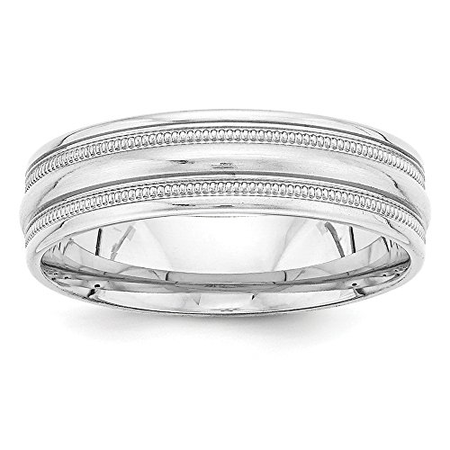 Comfort Fit Fancy Wedding Band - Size 12 - Solid 14k White Gold Heavy Comfort Fit Fancy Wedding Band