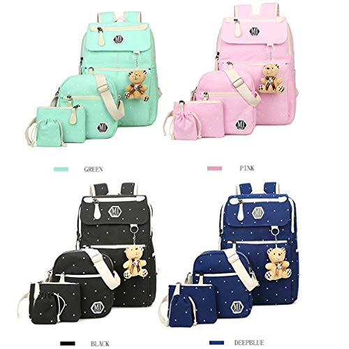 Backpack Backpacks Women Blue Pink Pcs 27x12x37cm Bag Canvas 4 School qZPtAY