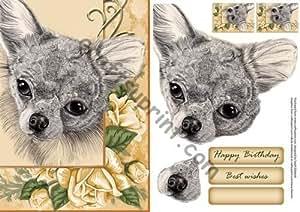 De Chihuahua y rosas amarillas A5 Tarjeta de rápido por Sarah Edwards