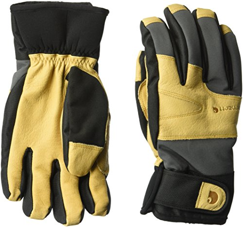 Carhartt Men's Winter Dex Cow Grain Leather Trim Glove, Dark Grey/Brown, (Carhartt Leather Waterproof Glove)