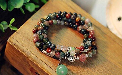 Wrapped Crystal Bracelet (AMBY Buddhist Prayer Beads • Tibetan Mala Necklace • 6mm Healing Stones Bracelet • Chakra Jewelry for Meditation • Natural Quartz Crystal Wrap Bracelet Necklace (Mixed color))