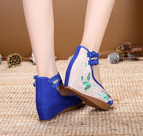 AvaCostume Womens Embroidery Floral Strappy Round Toe Platform Wedges Blue rRNA72tl5M