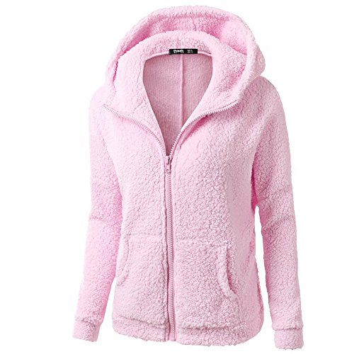 Casual Women Hooded Sweater Coat Winter Warm Wool Zipper Cotton Solid Color Outwear (5XL, Pink) ()