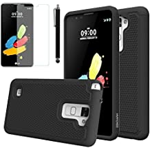 New LG Stylo 2 Case, Rugged Hard Heavy Duty Shock Proof Rubber Hybrid Dual Layer Protective Silicone Defender Case With Screen Protector For LG Stylo 2 (Black)