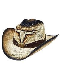 Modestone Jute Cowboy Hat Bull Head Leather-Like Hatband Beige