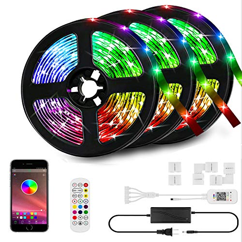 50ft LED Strip Lights Kit, LED Tape Strips, Sync to Music , Smart RGB LED Strip Light with Remote, APP Bluetooth Control…