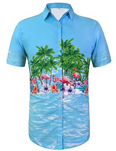 Hawaiin Flowers Blue (Daupanzees Men's Short Sleeve Shirt Hawaiian Flamingos Flower Tropical Aloha Shirts Unisex Hawaiian-Print Party Party Casual Button Down Shirt (Blue M))