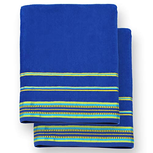 Ben Kaufman - Oversized 40 X 70 Solid Color Velour Super Soft Beach and Pool Towel Set of 2 Pieces Easy Care, Extra Large (Cobalt)