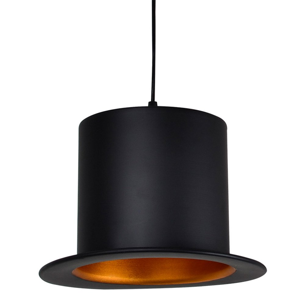 Injuicy Lighting Modern Aluminum Top Hat Jeeves & Wooster E27 Led Pendant Hanging Lights Lamps American Droplight for Dining Living Rooms Bedrooms Cloakroom Bar Cafe Restaurants Corridor(Flat-top Hat)