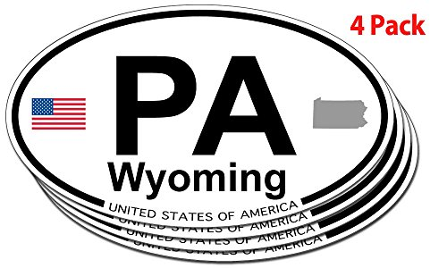 Wyoming, Pennsylvania Oval Sticker - 4 pack