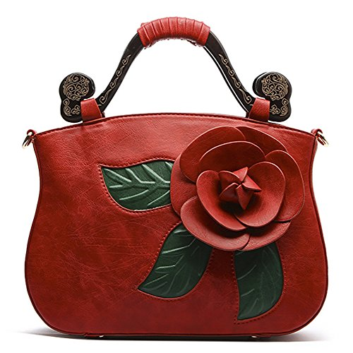 Shoulder Flower PU Rose Leather Style QZUnique Bags Handbag Tote 2 Retro Red Bags Chinese xvq4BwAZ
