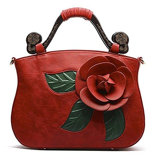 Shoulder Flower PU Rose Leather Style QZUnique Bags Handbag Tote 2 Retro Red Bags Chinese xvq4BwAZ
