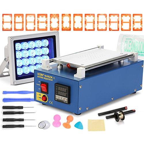 Happybuy Screen Separator Machine 350W Blue LCD Separator Screen Repair Machine Vacuum for Cell Phone 7 Inch (Vacuum LCD Separator with 12 Molds)