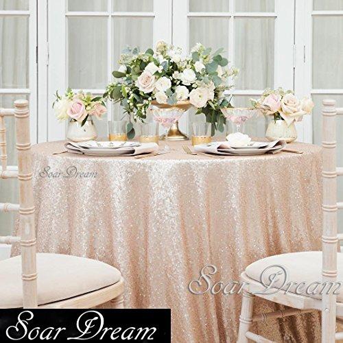 SoarDream cheap Round Champagne Blush Sequin Tablecloth Glit