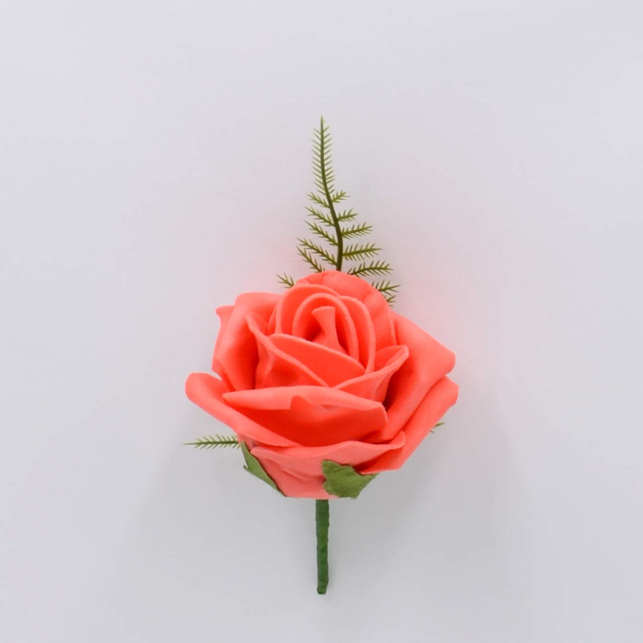 Artificial Wedding Flowers Hand-Made by Petals Polly Foam Rose Buttonhole in Orange Coral