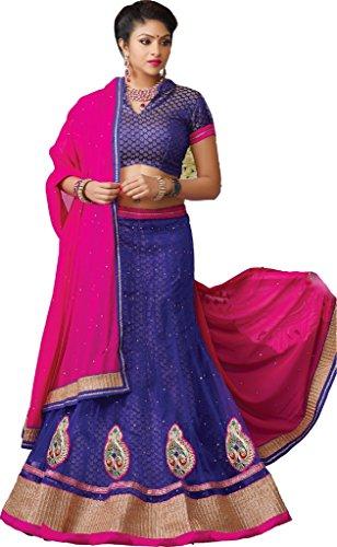 Suchi Womens Net Lehenga Choli (Sfjag90199 _Royal Blue _Free Size)