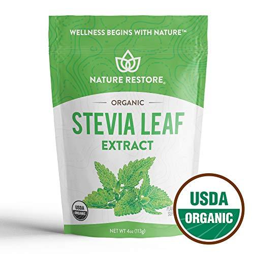 - Nature Restore USDA Certified Organic Stevia Leaf Extract Powder, (4 ounces) Non-GMO & Gluten Free, 100% Natural Stevia Sweetener