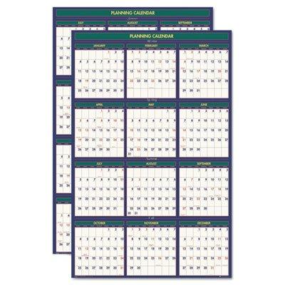 Four Seasons Reversible/Erasable Business/Academic Calendar, 24 x 37,