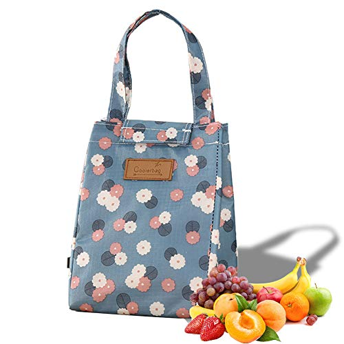 Freezer Small Lunch Tote Bag- Portable Washable Lunch Bag with Aluminum Foil,Yitour Blue Eco-Friendly Lunch Organizer,Daisy Cooler Container Bag for Teens Girls,Recyclable Water-Resistant Cooler Bag