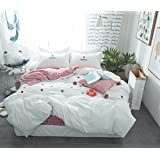LELVA Simple Floral Duvet Cover Set Girls Reversible Plaid Bedding Set 3 Piece White and Red 100%Cotton (Twin, Fitted Sheet Set)