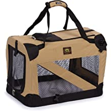 Pet Life Vista-View 360 Soft Folding Collapsible Travel Pet Dog Crate, Khaki, Medium