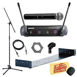 shure pgx24 sm58 wireless handheld microphone system pack with mounting rack mic. Black Bedroom Furniture Sets. Home Design Ideas