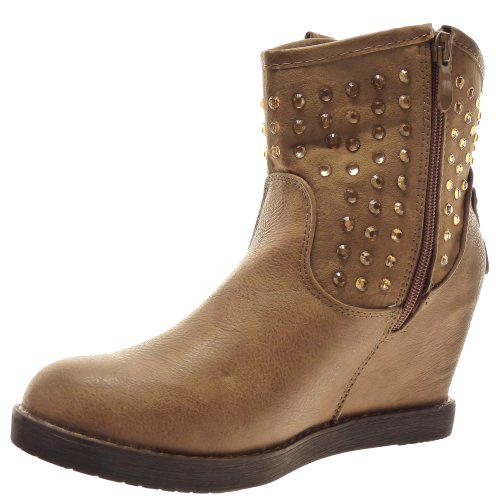 Kickly–Zapato Mode botín con cuña Western Tobillo mujer brillantes Talón cuña 9cm–Interior fourrée–Khaki