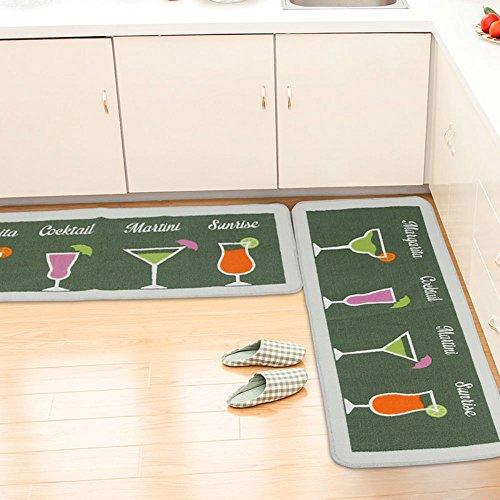ANYU HOME 2 Piece Non-Slip Kitchen Mat Rubber Backing Doormat Runner Rug Set,Cocktail Design(Green 19.7''x31''+19.7''x59'') by ANYU