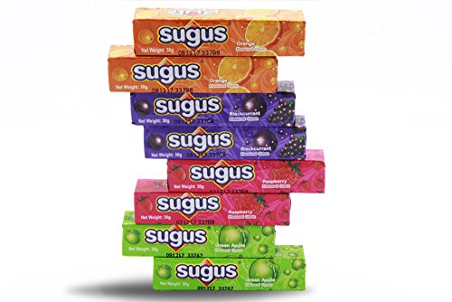 Sugus Fruity Tasty Sweet Chewy Candy Mix Flavored Orange, Raspberry, Green Apple and Blackcurrant, sugus candy assorted [Pack of 8 Bars]