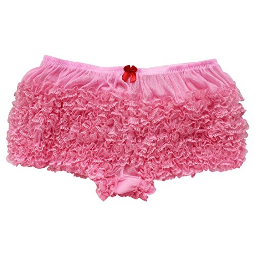 YiZYiF Women's Ruffled Pettipants Bloomers Lace Trim Knickers Panties Underwear Pink (Ruffled Panty)