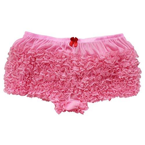 MSemis Women's Sexy Ruffle Panties Tanga Dance Bloomers Sissy Booty Shorts Pink One Size -