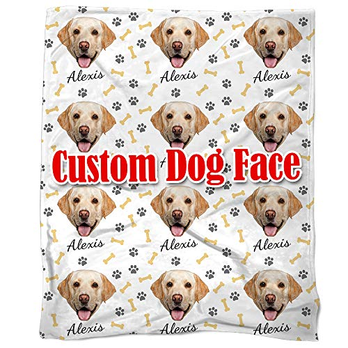 Nictimeid Personalized Dog Throw Blanket - Custom Made Your Dogs Head and Name, 50X60 inches