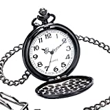 WIOR Vintage Quartz Pocket Watch Classic Sculptured Fob Men Pocket Watch with 14'' Chain