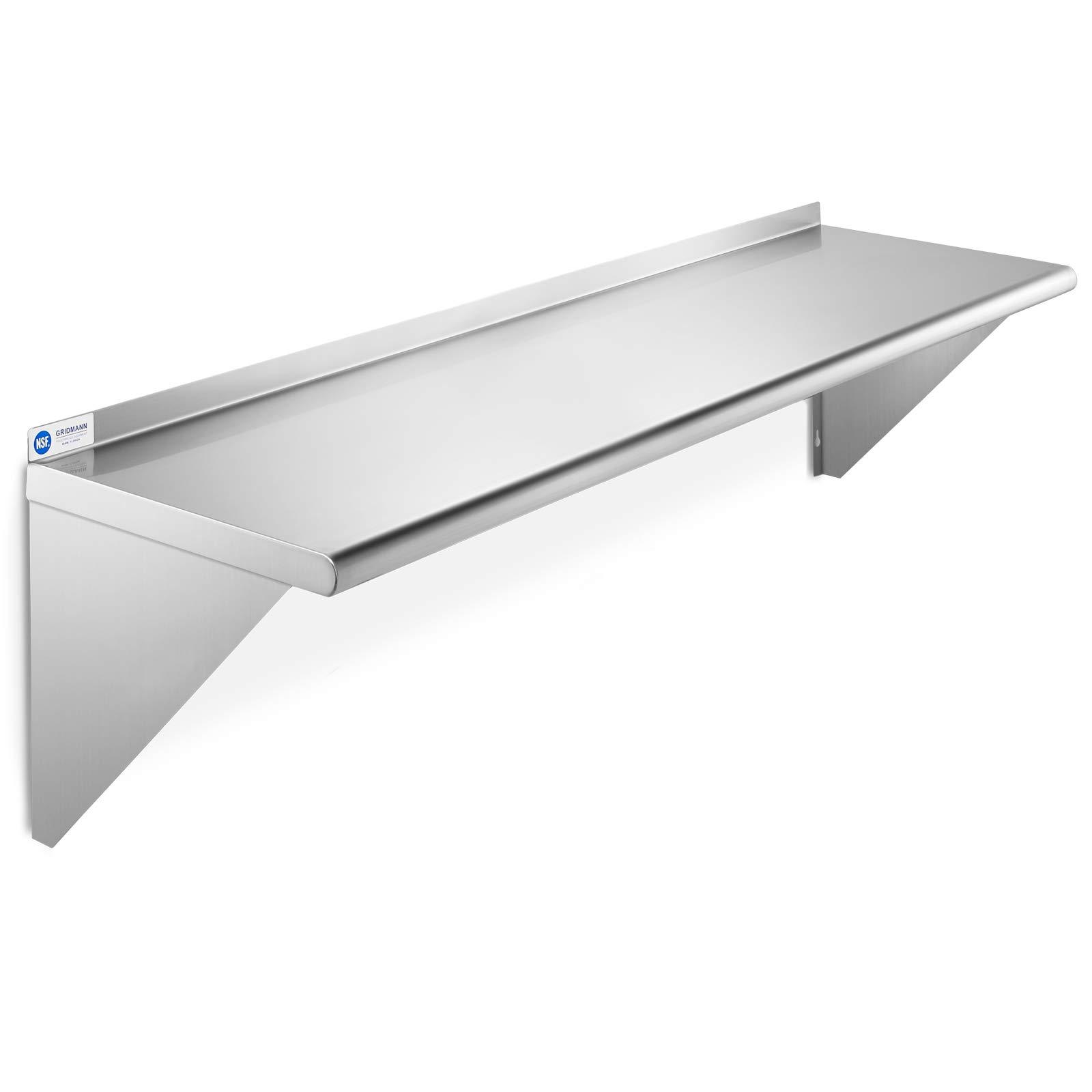 GRIDMANN NSF Stainless Steel Kitchen Wall Mount Shelf Commercial Restaurant Bar w/Backsplash - 14'' x 48'' by GRIDMANN