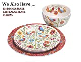Bico Red Spring Bird Ceramic Bowls Set of