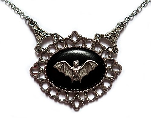Moon Maiden Jewelry Gothic Victorian Silver Framed Bat Cameo Necklace ()
