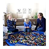 MorTime New Type Play Mat and Toys Storage Bag 2-In-1, Large, Durable polyester fiber Lego Mat And Drawstring Storage Pouch,Portable 60 inch Multi Purpose Kid's Activity Mat