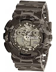 G-Shock Mens GA-100 Camouflage Watch, Grey, One Size