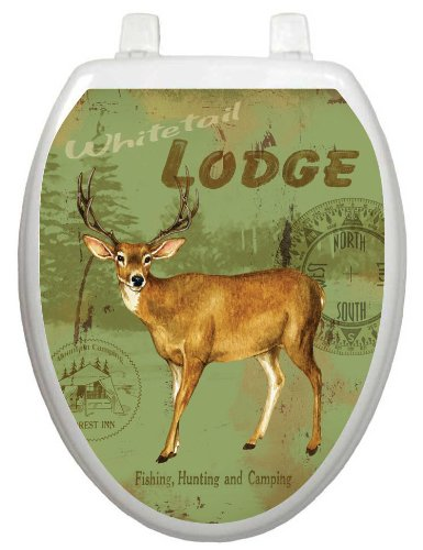 Toilet Tattoos, Toilet Seat Cover Decal,Deer Lodge, Size Elongated (Deer Toilet Tattoo)