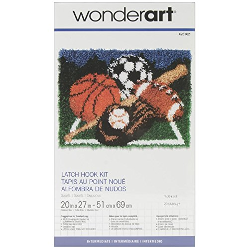 Spinrite Wonderart Latch Hook Kit, 20 by 27-Inch, Sports ()