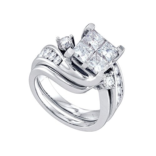 3 Ct Tw Invisible Set (Roy Rose Jewelry 3-Carat tw Princess Diamond Invisible-set Center Bridal Ring Set 14K White)