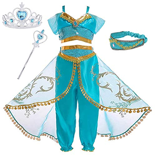 Sinmoocy Jasmine Dresses Princess Costume for Girls Birthday Party Halloween Cosplay Fancy Dress up Arabian Outfit Clothing Set with Crown and Wand Size 3-4 Years/Tag 110]()