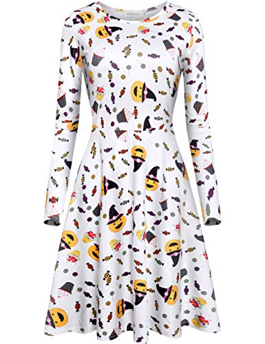 (Melynnco Women's Long Sleeve Halloween Costumes Casual Printed Flare Party Dress Candy)