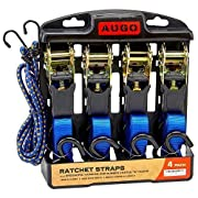 #LightningDeal Ratchet Tie Down Straps - Cargo Straps for Moving Appliances, Lawn Equipment, Motorcycle - 500 Load Capacity & 1,500 Lbs Breaking Strength - 4 Pack & Bonus Accessories - by AUGO