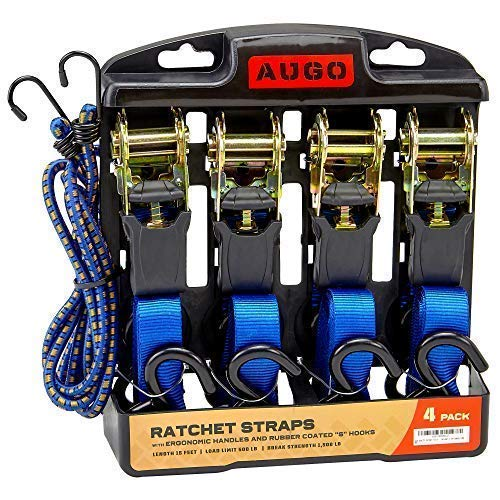 Load Carrier Set - Ratchet Tie Down Straps - 4 Pk - 15 Ft- 500 Lbs Load Cap- 1500 Lb Break Strength- Cambuckle Alternative- Cargo Straps for Moving Appliances, Lawn Equipment, Motorcycle - Includes 2 Bungee Cord