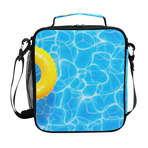 Lunch Bag Insulated Boxes Water Pool Yellow Float Ring Cooler Lunch Handbags Organizer Containers Meal Prep with Shoulder Strap for Woman Man Boy Girl