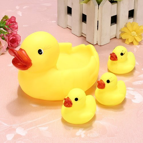 Rainbowkids a set of 4 Pcs new arrival child Baby Bath Toys ,Water Floating Squeaky Yellow Rubber Ducks,speical gifts for (Really Cheap Drum Kit)