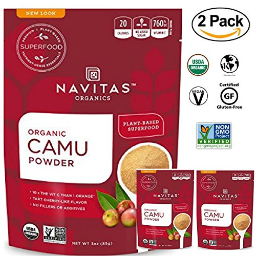 Navitas Organics Raw Camu Camu Powder, 3 oz. Bags (Pack of 2) - Superfood, USDA Organic, Non-GMO, Gluten-Free,Vegan, kosher by Navitas Organics
