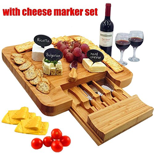 Bamboo Cheese Board & Cutlery Set with Slide-Out Drawer, 4 Piece Stainless Steel Knife. Charcuterie Plate & Serving Tray of Wine, Crackers. Includes 3 Label & Chalk, Fancy Wedding & Housewarming Gift